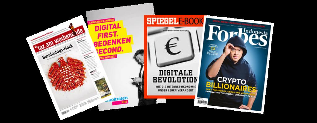 Cover von Zeitungen und Werbeanzeigen, die sich mit Digitalisierung befassen