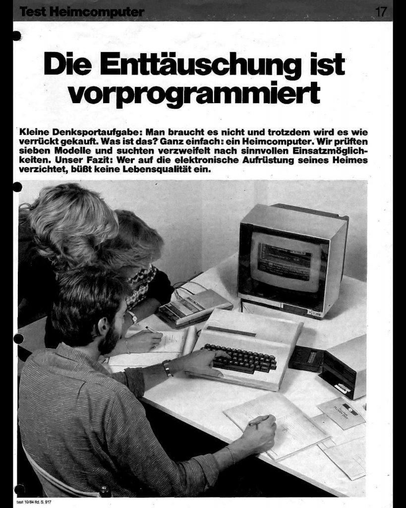 """Scan eines Stiftung Warentest Reports zum Thema Heimcomputer. Titel: """"Die Enttäuschung ist vorprogrammiert."""