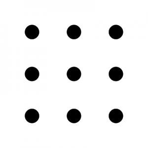 9 Punke, die in 3 Reihen untereinander angeordnet sind