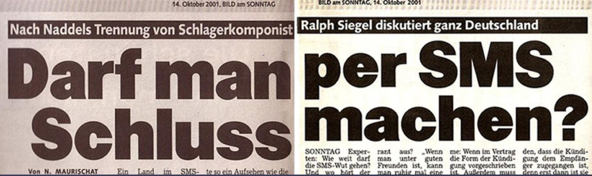 Schlagzeile der BILD am SONNTAG: DARF MAN PER SMS SCHLUSS MACHEN?