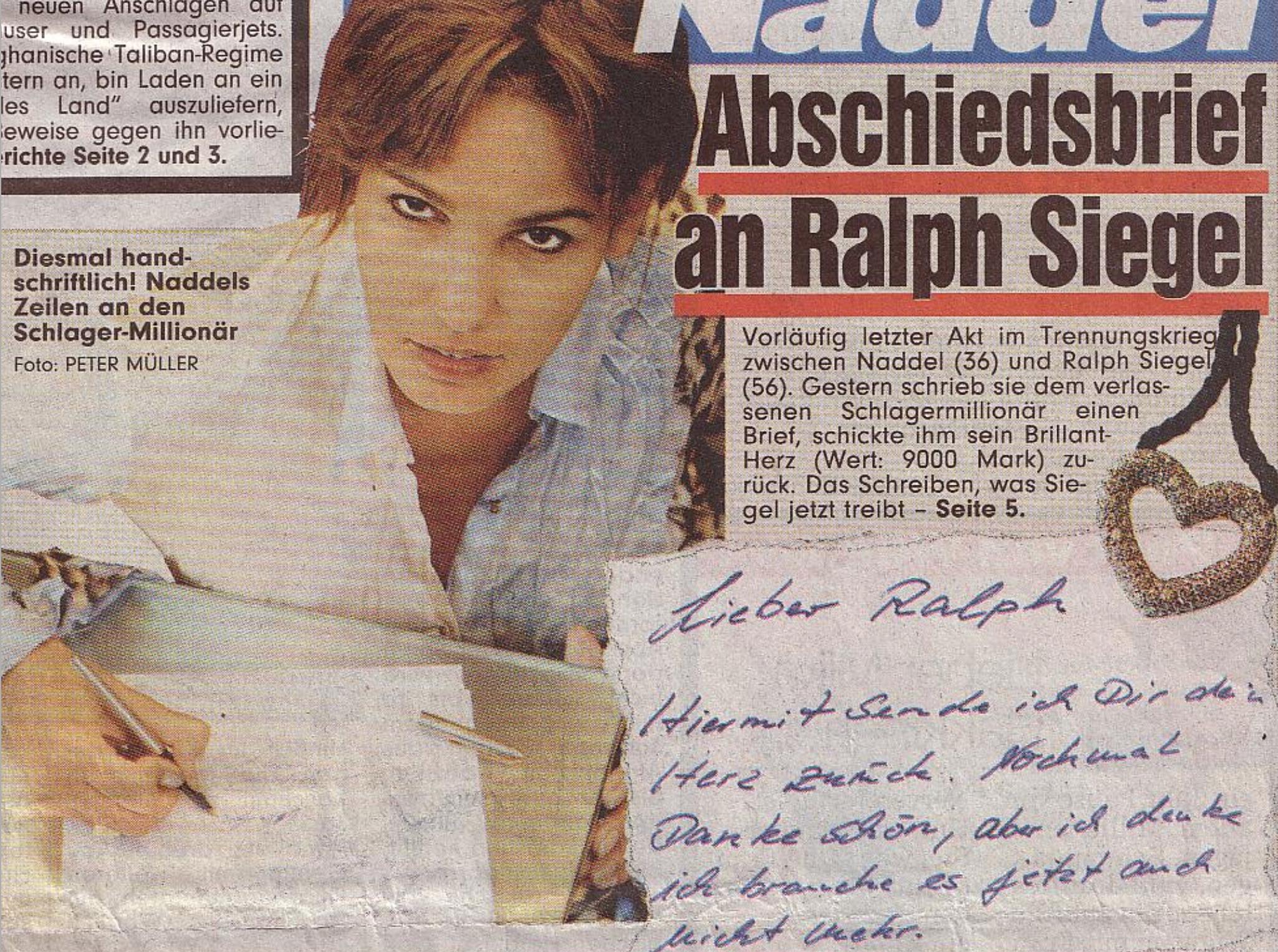 Ausschnitt aus der BILD vom 15. Oktober 2001