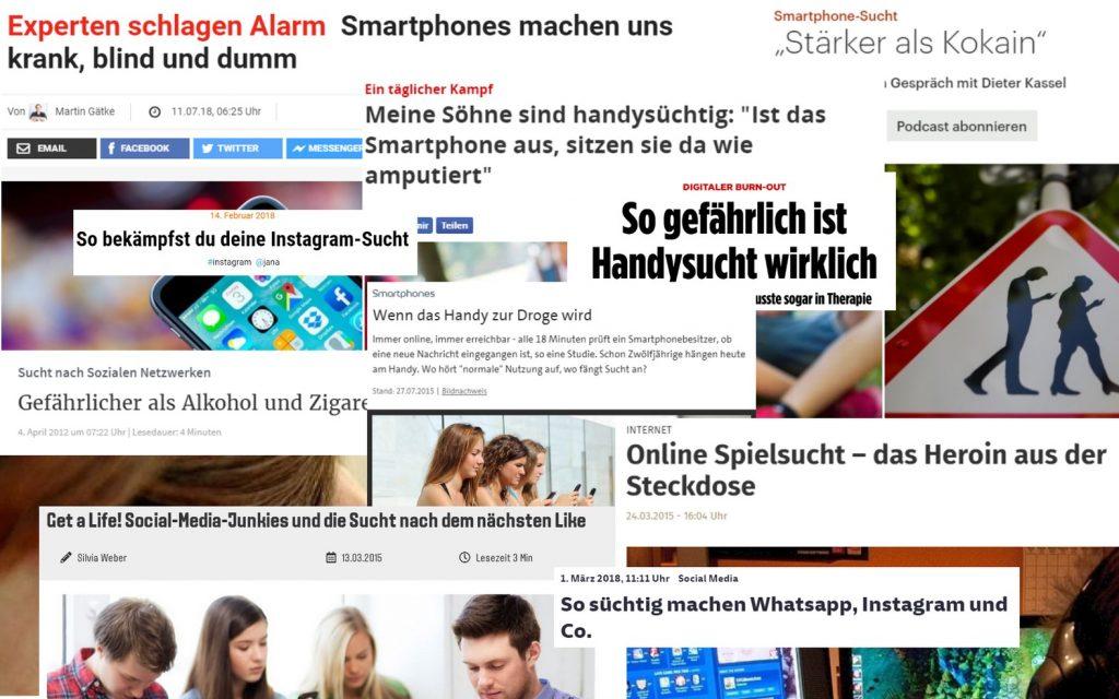 Schlagzeilen zur süchtig machenden Smartphonennutzung bei Jugendlichen