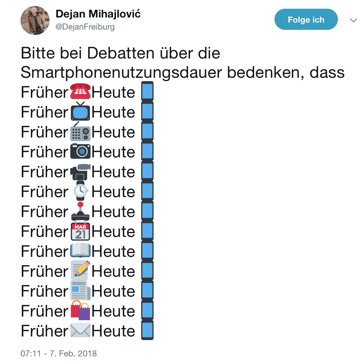 Tweet zu Smartphonennutzung