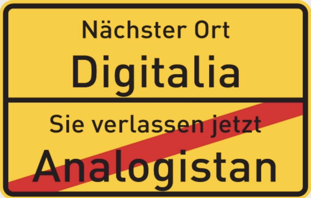Ortsschild Digitalia Analogistan