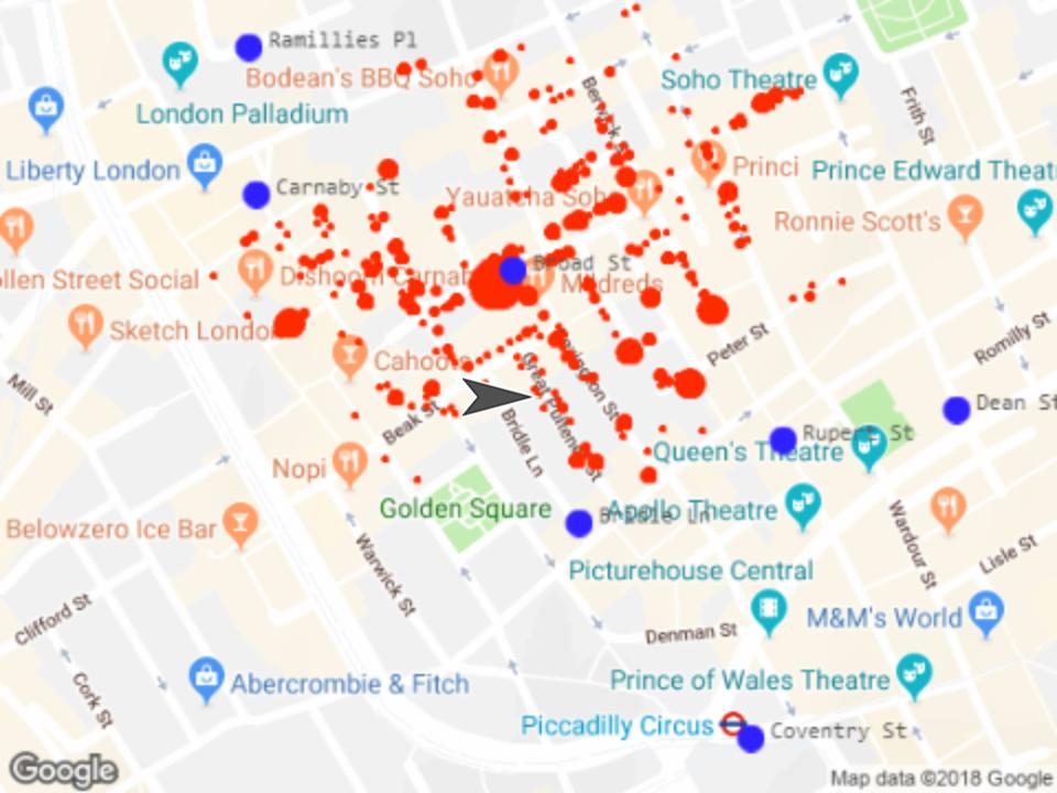 Karte mit eingezeichneten Cholera Toten