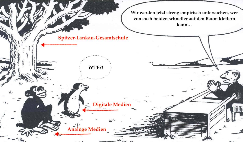 Karikatur mit Pinguin und Aff