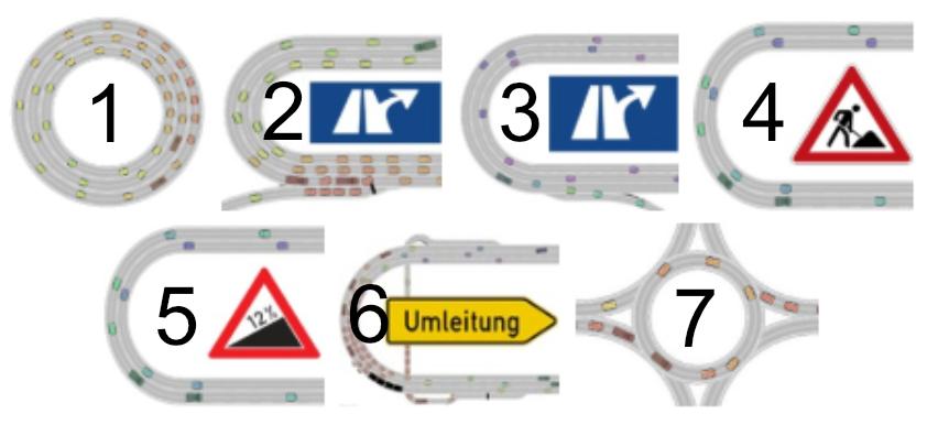 Bild von Verkehrsschildern und besonderen Szenarien