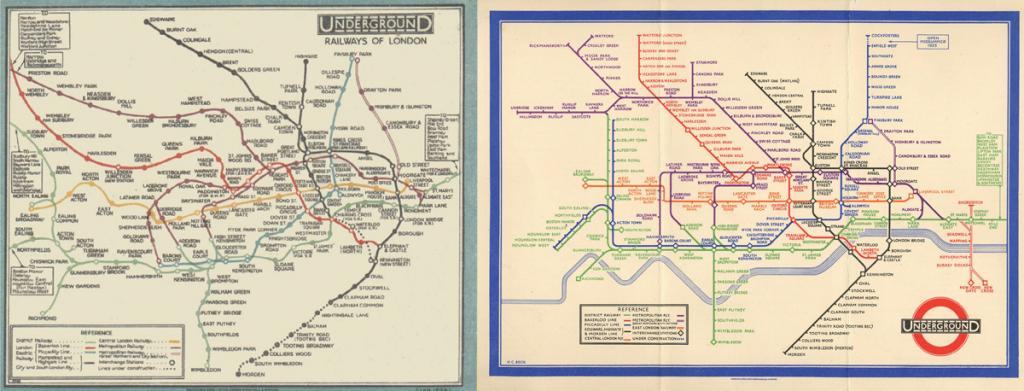 zwei verschiedene U-Bahn Netzpläne von London